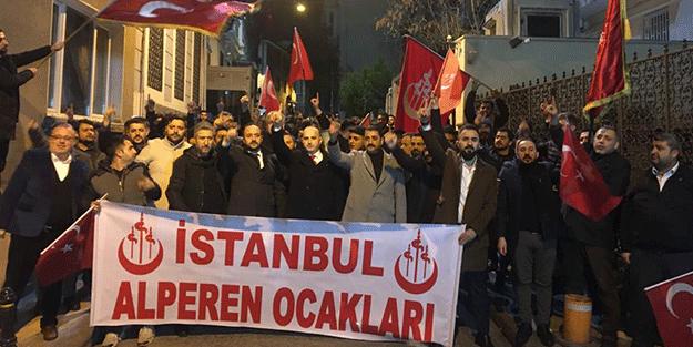İstanbul Alperen Ocakları'ndan küstah Yunan vekile tepki yürüyüşü