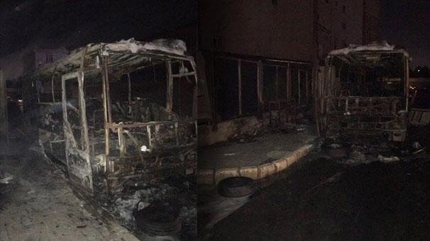 İstanbul Büyükçekmece'de otobüs alev alev yandı