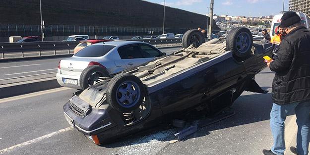 İstanbul'da E-5'i kilitleyen kaza! Yan yola uçtu