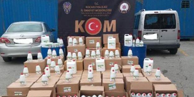 Kaçak dezenfektan üreten imalathaneye baskın düzenlendi