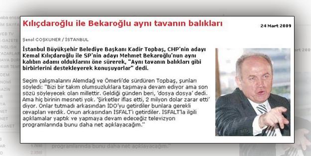 Kadir Topbaş'ın Bekaroğlu ile ilgili sözleri doğru çıktı
