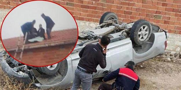 Kaza yapan sürücü araçtan fırladı kendini çatıda buldu
