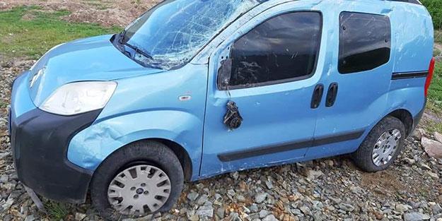 Kazada yara almadı, takla attığı aracı sosyal medyada paylaştı
