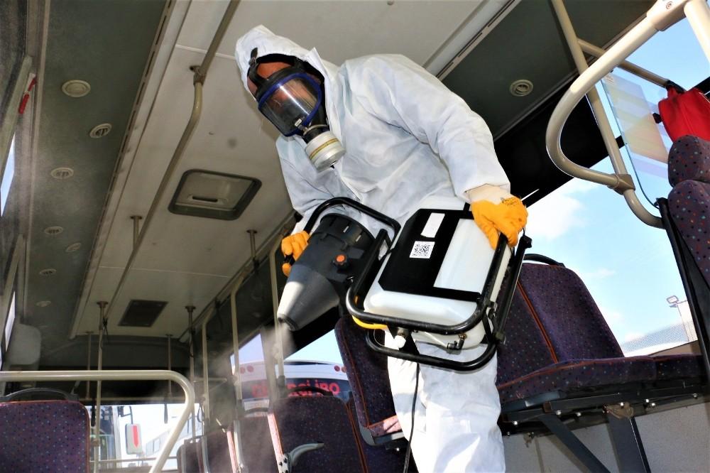 Körfez'de halk otobüsleri ve taksiler dezenfekte edildi