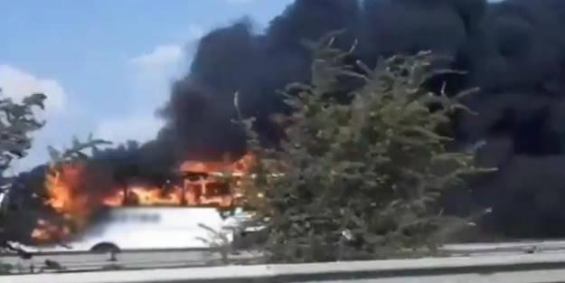 Korku dolu anlar! Yolcu otobüsü alev alev yandı