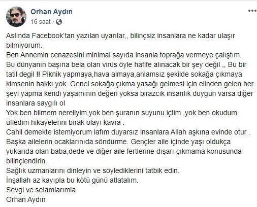 Korona sürecinde oyuncu Orhan Aydın'dan annesinin cenaze töreninde örnek davranış