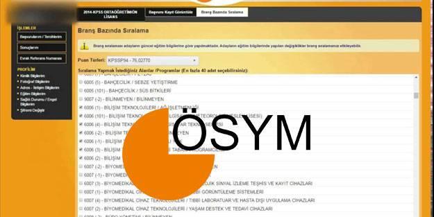 KPSS branş bazında sıralama 2021 ÖSYM KPSS branş sıralama sorgulama ekranı