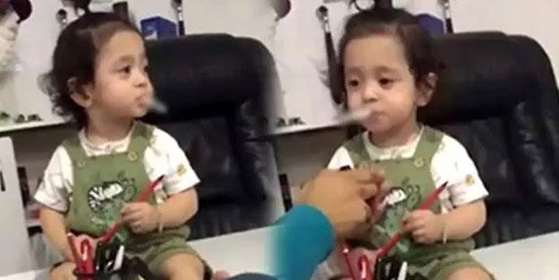 Küçük çocuğa sigara içiren adamdan akılalmaz sözler