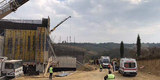 Kuzey Marmara Otoyolu inşaatında iş kazası! İşçiler iskele altında kaldı