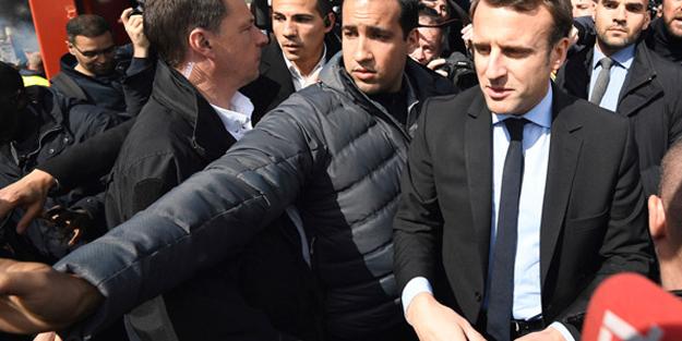 Macron'un korumasından göstericiye 1 Mayıs dayağı!