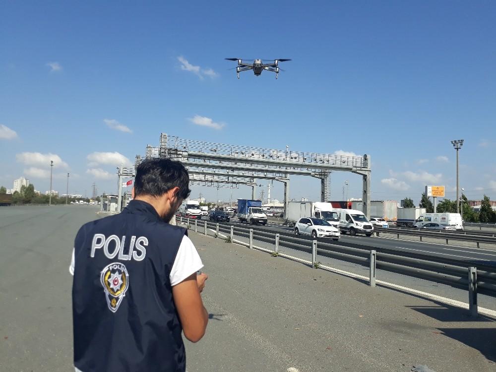 Mahmutbey gişelerde drone'lu trafik denetimi