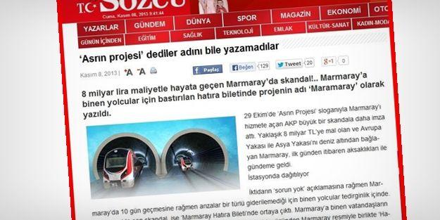 'Marmaray sanki Sözcü'nün içinden geçiyor'