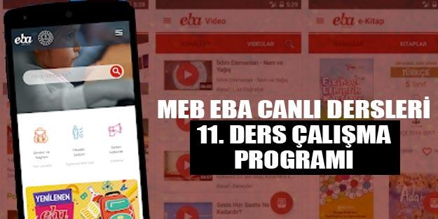 MEB canlı yayın dersleri 11. sınıf EBE ders programı ders saatleri