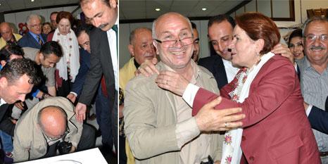 Akşener düşen gazeteci ile ilgilendi