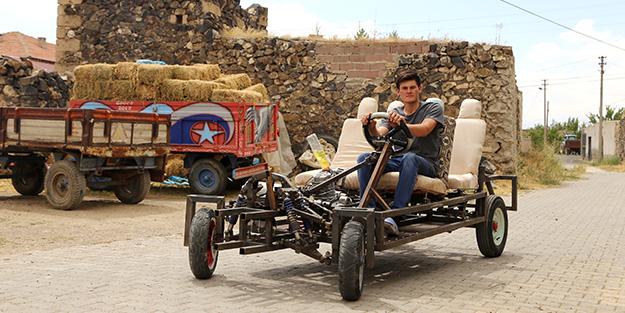 Meslek lisesi mezunu genç, kendi arabasını yaptı