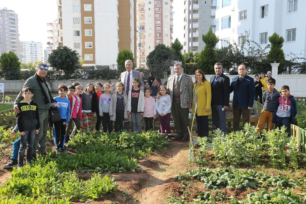 Mezitli Belediyesi çocuk hobi bahçesinde hasat sevinci