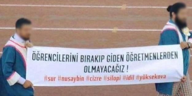 Mezuniyet töreninde skandal PKK pankatları