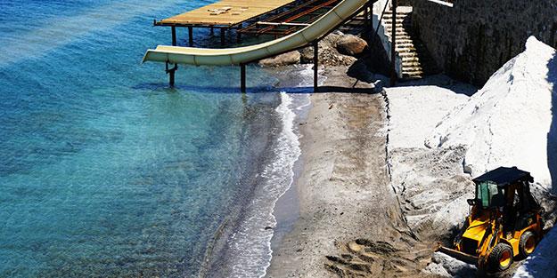 Muğla'da 5 yıldızlı otele baskın, 345 bin lira ceza! Sahili Maldivler'e benzetmek adına beyaz kum diye o maddeyle kaplayacaklardı