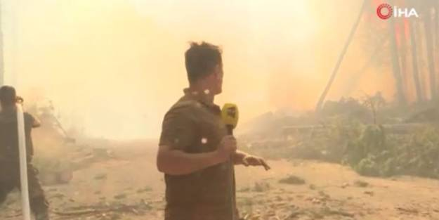 Muğla'daki yangını görüntüleyen Azerbaycanlı muhabirler yanmaktan son anda kurtuldu!