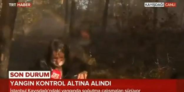Ne olduğunu anlamadı! TRT muhabirinin canlı yayında zor anları