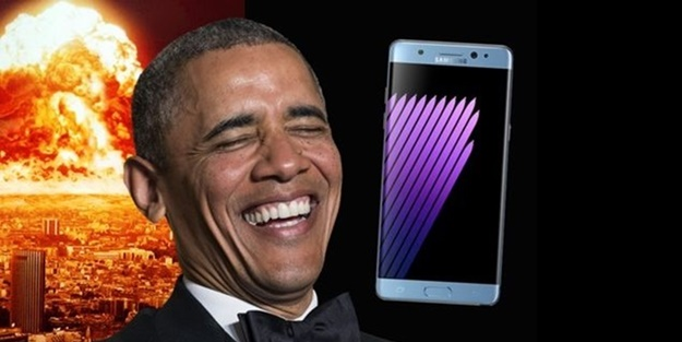 Obama, Galaxy Note 7 ile alay etti