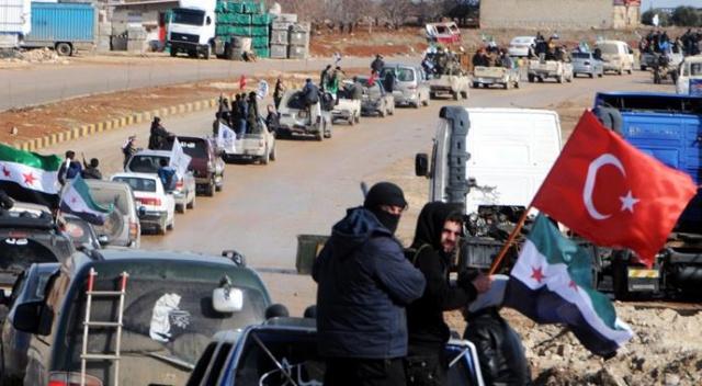 ÖSO güçlerinden Azez'de Türkiye'ye destek konvoyu