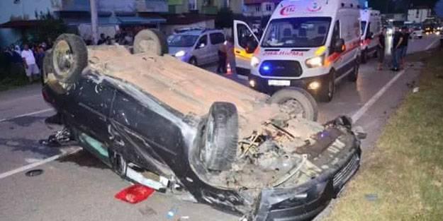 Otomobilin takla attığı kazada 3 kişi yaralandı