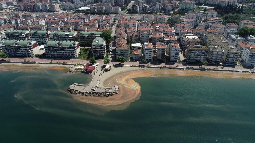 (Özel) Marmara Denizi turuncuya boyandı...O anlar havadan görüntülendi