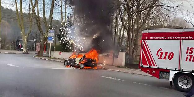 Sosyal medya fenomeninin otomobili alev alev aldı