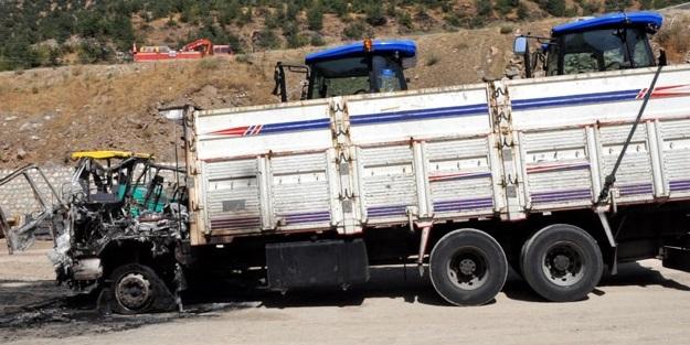 PKK'nın yol kapattığı TIR yoldan kaldırıldı