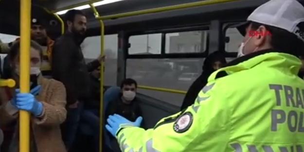 Polis sosyal mesafe denetimi yaptı! Minibüstekilerin kimliği şaşkına çevirdi