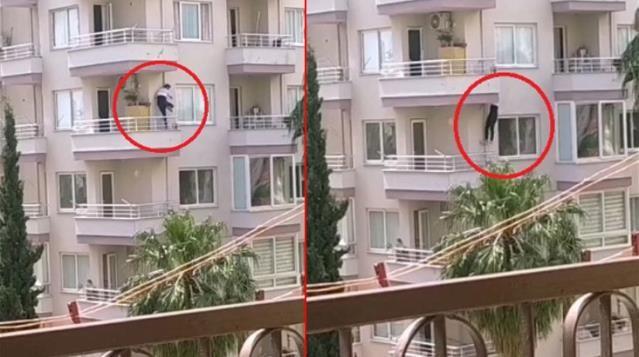Polisleri kapıda gören suçlu balkondan balkona atladı! İşte o anlar...