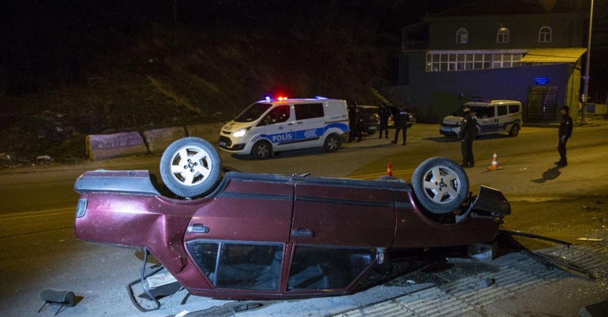 Polisten kaçan şüpheli otomobil takla attı: 5 yaralı