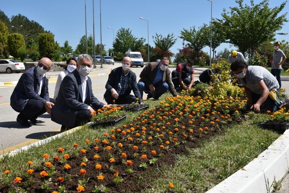 Rektör Bilgiç, 'Dünya Çevre Günü'nde çiçekleri toprakla buluşturdu