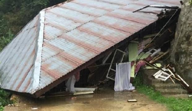 Rize'de heyelanda ev çöktü: 1 kişi yaralı