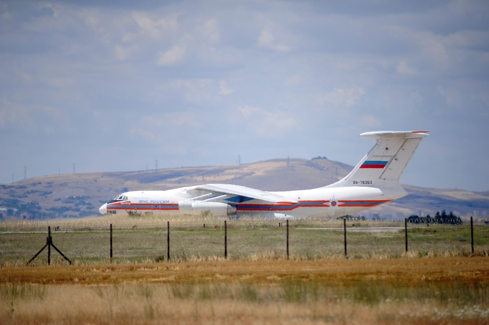 S-400'lerin birinci grubunu Ankara'ya getiren uçak İHA tarafından görüntülendi