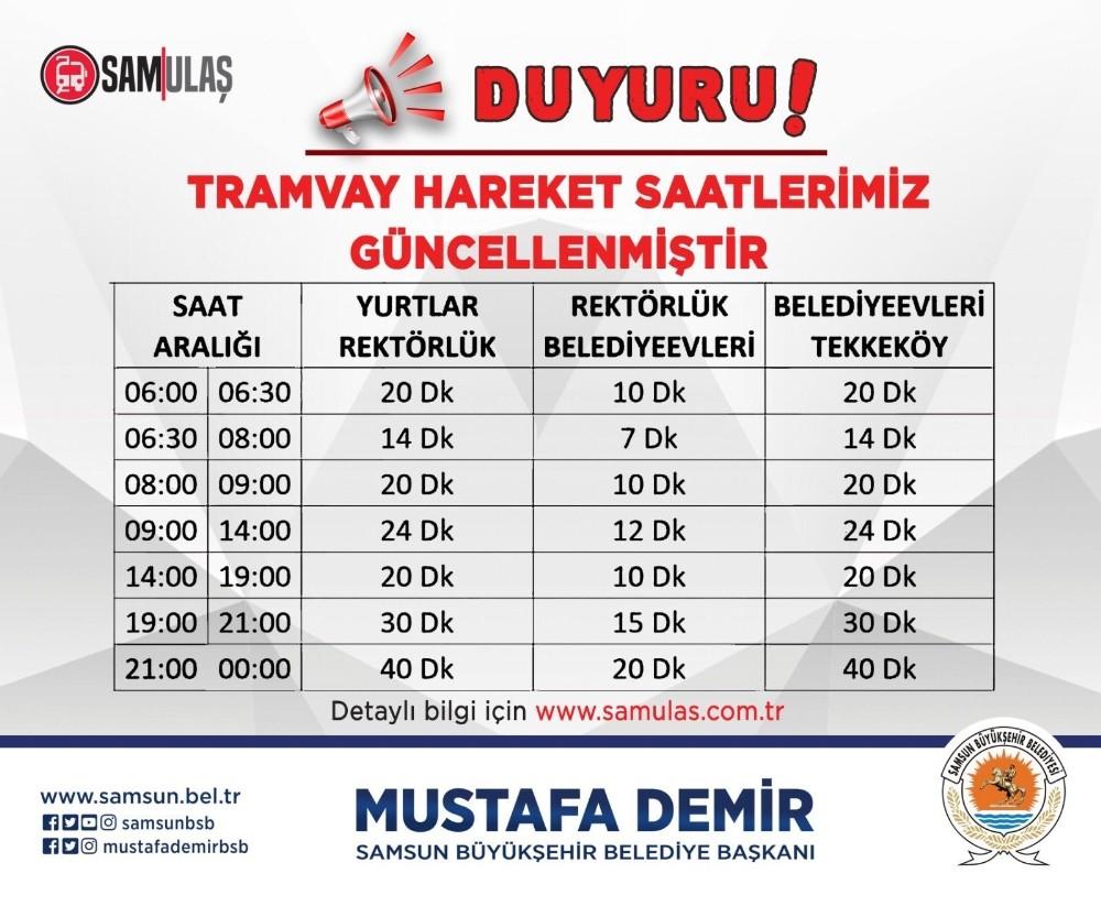 Samsun'da tramvay saatleri değişti