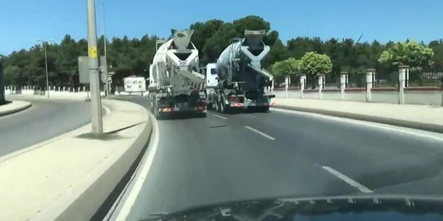 Saniye saniye görüntülendi! Yarışa tutuşan mikser sürücüleri trafikte terör estirdi