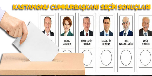 Kastamonu seçim sonuçları 24 Haziran 2018 Cumhurbaşkanı seçim sonuçları