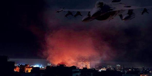 Siyonist İsrail'in savaş uçakları Gazze'yi vurdu