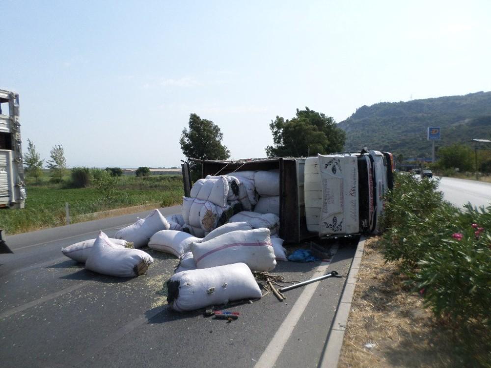 Söke'de baharat yüklü kamyon devrildi