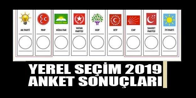 Yerel seçim 2019 anket sonuçları