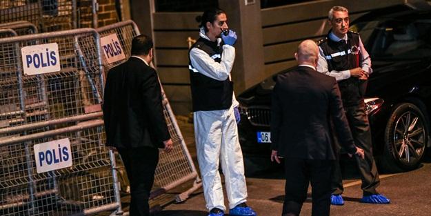 Suudi Arabistan Başkonsolosluğu'na 2 minibüs ve 2 olay yeri inceleme aracıyla gelen uzman ekipler de girdi