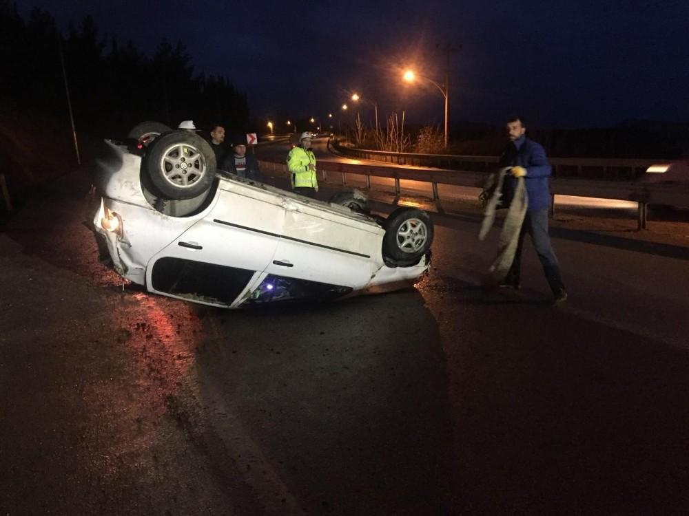 Takla atarak durabildi, sürücü yaralandı