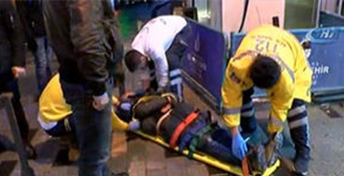 Taksim'de olaylı gece: Kendi kazdığı çukura düştü