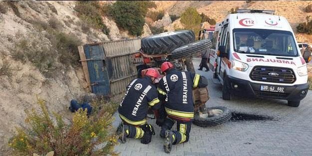 İşçileri taşıyan traktör devrildi: Yaralılar var