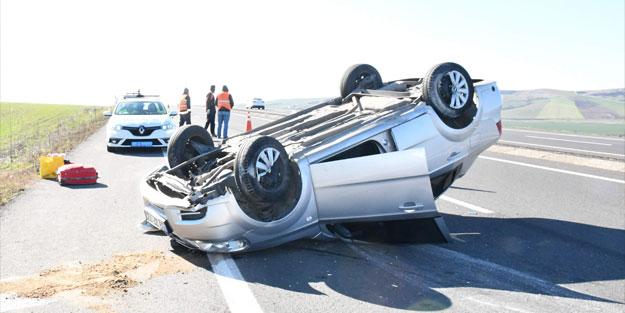 Kontrolden çıkan araç takla attı! 6 kişi yaralandı