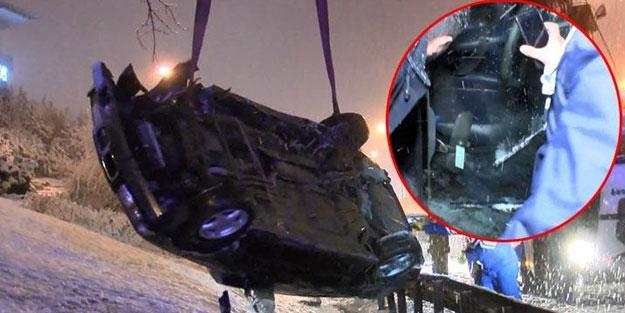 TEM Otoyolu'nda takla atan otomobilin şoförünü aradılar
