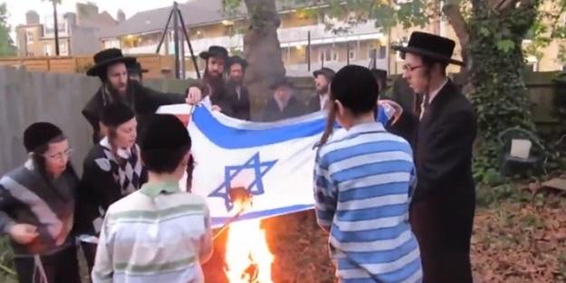 Terör devleti karıştı! Yahudiler İsrail bayrağını yaktı