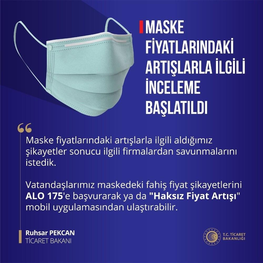 """Ticaret Bakanı Pekcan, """"Koruyucu maskelere fahiş fiyatlar uygulandığına dair gelen ihbarları değerlendiriyor"""""""